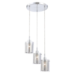 Modern Multi-Light Pendant Light with Clear Glass and 3-Lights