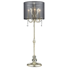 Modern Console & Buffet Lamp with Black Shade in Silver Leaf Finish