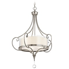 Kichler Drum Pendant Light with Clear Glass in Classic Pewter Finish