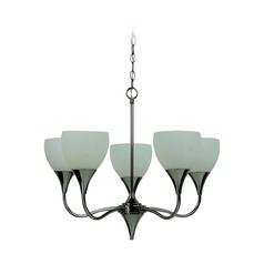 Sea Gull Lighting Modern Chandelier with White Glass in Polished Nickel Finish 31961BLE-841