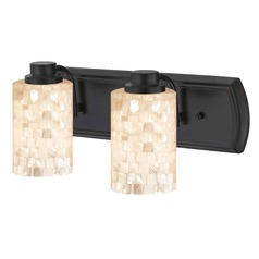 2-Light Mosaic Glass Vanity Light in Bronze
