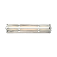 Modern Bathroom Light with White Glass in Chrome Finish