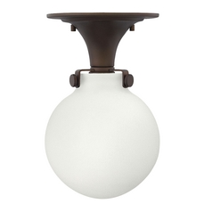 Globe Semi-Flushmount Light in Bronze Finish with White Opal Glass