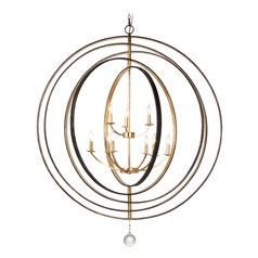 Crystorama Lighting Luna English Bronze, Antique Gold Pendant Light