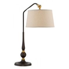 Lite Source Heinz Burnished Bronze Table Lamp with Drum Shade
