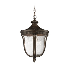Outdoor Hanging Light with White Glass in Hazelnut Bronze Finish