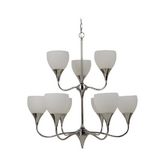 Sea Gull Lighting Modern Chandelier with White Glass in Polished Nickel Finish 31971-841