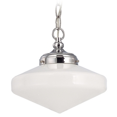 10-Inch Schoolhouse Mini-Pendant Light in Chrome Finish with Chain