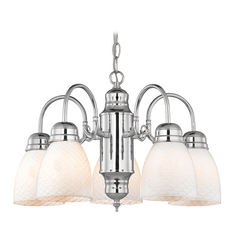 Mini-Chandelier with White Art Glass in Chrome Finish