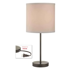 Table Lamp with White Drum Shade in Bronze Finish
