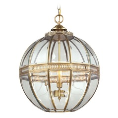 Elk Lighting Randolph Brushed Brass Pendant Light with Globe Shade