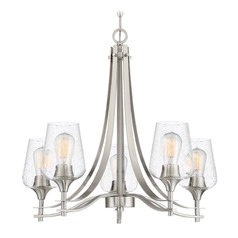 Seeded Glass Chandelier Brushed Nickel Towne by Quoizel Lighting