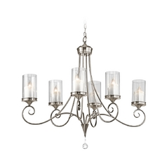 Kichler Chandelier with Clear Glass in Classic Pewter Finish
