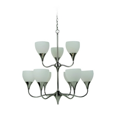 Sea Gull Lighting Modern Chandelier with White Glass in Polished Nickel Finish 31971BLE-841