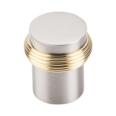 Cabinet Knob in Brushed Satin Nickel & Polished Brass Finish