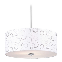 Modern Chrome Drum Pendant Light with White Patterned Shade