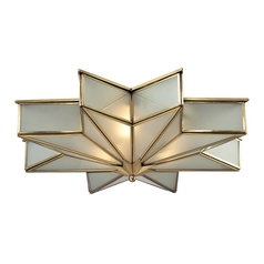 Flushmount Light with White Glass in Brushed Brass Finish