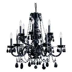 Crystorama Traditional 2-Tier 12-Light Crystal Chandelier in Black