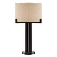 Lite Source Barend Dark Walnut Table Lamp with Drum Shade