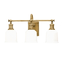Bathroom Light with White Glass in Aged Brass Finish