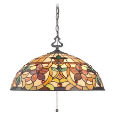 Pendant Light with Multi-Color Glass in Vintage Bronze Finish
