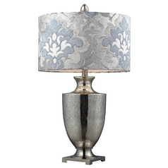 Modern Table Lamp with Grey Shade in Antique Mercury Glass with Polished Chrome Finish