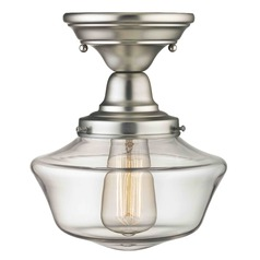 Schoolhouse Semi-Flush Ceiling Light Satin Nickel with Clear Glass