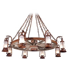 8-Light Wagon Wheel Chandelier - Natural Rust Finish