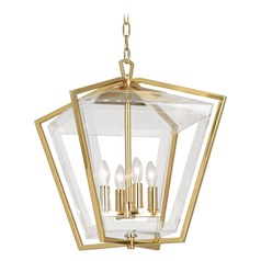 Robert Abbey Casper Polished Brass Pendant Light with Square Shade