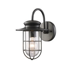 Outdoor Wall Light with Clear Glass in Matte Black Finish
