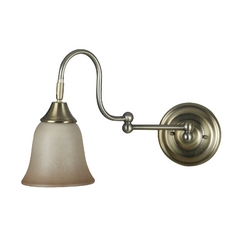 Swing Arm Lamp with Beige / Cream Glass in Vintage Brass Finish