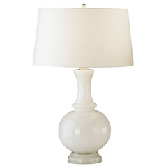 Robert Abbey Lighting Modern Table Lamp with White Shade in White Finish W3323