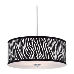 Zebra Drum Pendant Light in Chrome Finish