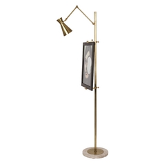 Mid-Century Modern Floor Lamp Brass Jonathan Adler Bristol by Robert Abbey