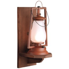 Wood Wall Mount Rustic Outdoor Wall Lantern - Natural Rust Finish