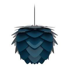UMAGE Black Pendant Light with Petrol Metal Shade