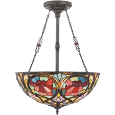 Quoizel Lighting Pendant Light with Multi-Color Glass in Vintage Bronze Finish TF879CVB