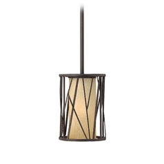 Fredrick Ramond Nest Oil Rubbed Bronze Mini-Pendant Light with Cylindrical Shade