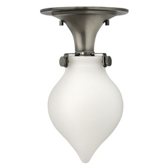 Semi-Flushmount Light with White Glass in Antique Nickel Finish