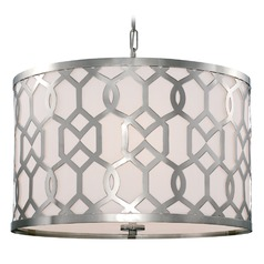 Crystorama Lighting Jennings Polished Nickel Pendant Light with Drum Shade