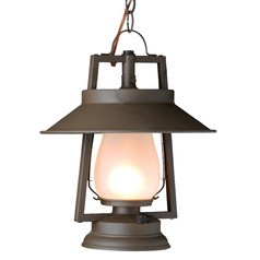 Chain Mount Rustic Hanging Lantern - Bronze Finish