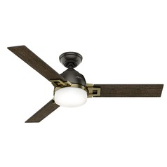 Hunter Fan Company Leoni Noble Bronze and Modern Brass LED Ceiling Fan with Light