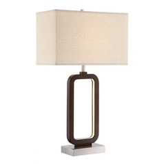 Lite Source Leonard Walnut Table Lamp with Rectangle Shade