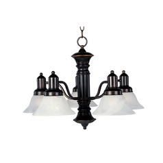 Maxim Lighting Chandelier with White Glass in Oil Rubbed Bronze Finish 20325MROI