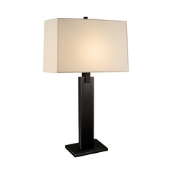 Modern Table Lamp with Beige / Cream Shade in Black Brass Finish