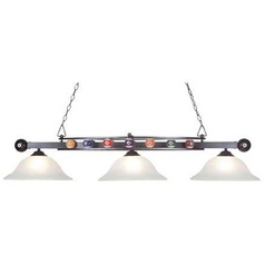 Modern Billiard Light with Alabaster Glass in Gun Metal Finish