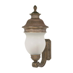 Outdoor Wall Light with White Glass in Platinum Gold Finish