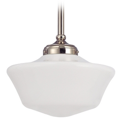 12-Inch Vintage Style Schoolhouse Pendant Light in Polished Nickel