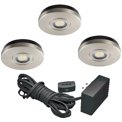 12V LED Puck Light Recessed / Surface Mount 3000K Satin Nickel by Juno Lighting Group