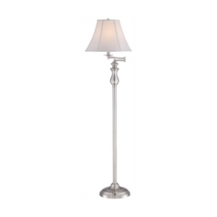 Swing Arm Lamp with White Shade in Brushed Nickel Finish